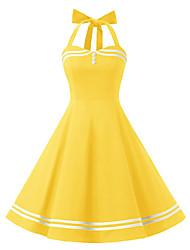 cheap -Women's Swing Dress Knee Length Dress Sleeveless Polka Dot Solid Color Zipper Patchwork Button Summer Vintage Cotton 2021 Black Blue Yellow Light Blue S M L XL XXL
