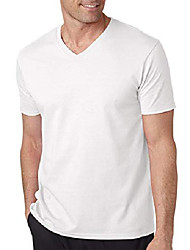 cheap -Men's Daily T-shirt Solid Color Classic Short Sleeve Tops 100% Cotton V Neck Navy White Black / Spring / Summer