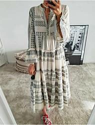 cheap -Women's Swing Dress Maxi long Dress Red Gray 3/4 Length Sleeve Geometric Print Summer V Neck Hot Casual Boho Flare Cuff Sleeve 2021 S M L XL XXL 3XL