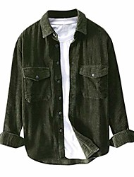 cheap -but& #39;s corduroy shirt 2019 new long-sleeve regular-fit two pockets casual button-down jackets green