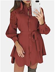 cheap -Women's A-Line Dress Short Mini Dress - Long Sleeve Solid Color Lace Patchwork Summer Shirt Collar Casual Hot Slim 2020 White Black Blue Wine Khaki S M L XL XXL 3XL