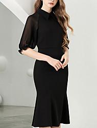 billige -Havfrue Elegant Minimalistisk Bryllupsgjest Cocktailfest Kjole Høyhalset Halvlange ermer Knelang Chiffon med slank 2020