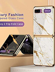 cheap -Luxury Case For Samsung Galaxy Z Flip Marble Style Phone Case Shockproof Back Cover Solid Colored Pattern Hard Protective Cover for Galaxy Z