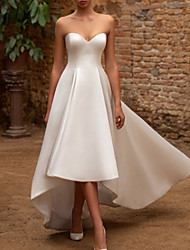 cheap -A-Line Wedding Dresses Sweetheart Neckline Asymmetrical Satin Sleeveless Vintage 1950s with Pleats 2021