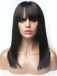 cheap -Remy Human Hair Wig Long Natural Straight With Bangs Natural Black Party Fashion Comfortable Capless Women's Natural Black 16 inch