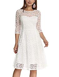 cheap -women& #39;s elegant plum blossoms floral lace dress 3/4 sleeves bridesmaid midi dresses illusion neckline & #40;white, xl& #41;