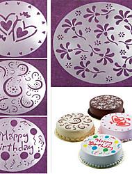 cheap -4 pcs/set Cake Spray Mold Happy Birthday Flowers Heart Pattern Spray Stencils Birthday Cake Decoration Mold Set