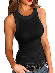 cheap -women fashion solid round neck ribbed tank top & #40;black coffee, medium& #41;