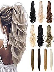 "cheap -claw clip in ponytail hair extension 18"" 21"" 24""curly wavy straight hairpiece one piece a jaw long pony tails for women& #40;medium brown 21""-wavy& #41;"