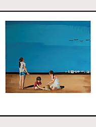 cheap -Framed Art Print Framed Set 1 -Morandi Color Abstract Beach Scenery Landscape Art PS Photo Wall Art