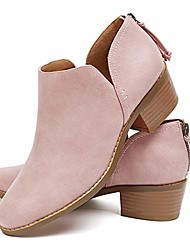 cheap -Women's Boots Block Heel Boots Chunky Heel Booties Ankle Boots Casual Minimalism Daily Solid Colored Black Pink Beige