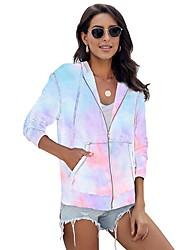 cheap -Women's Pullover Hoodie Sweatshirt Tie Dye Basic Hoodies Sweatshirts  Purple Rainbow Light Blue