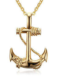 cheap -Men's Women's Pendant Necklace Classic Anchor Fashion Alloy Black Gold Silver 50+5 cm Necklace Jewelry 1pc For Anniversary Street Festival