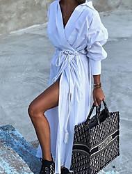 cheap -Women's Sheath Dress Maxi long Dress Long Sleeve Solid Color Summer Elegant Casual 2021 White Red S M L XL