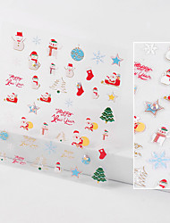 cheap -Christmas Nail Art With Diamond Stickers 3D Santa Cartoon Stickers Snowflake Stickers Nail Art Stickers Waterproof Decals