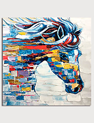 cheap -Oil Painting Painting Handmade Abstract Horse Canvas Art Modern Art with Stretcher Ready to Hang With Stretched Frame