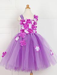 cheap -Kids Little Girls' Dress Floral Lace up Mesh Patchwork Purple Knee-length Sleeveless Flower Cute Dresses New Year