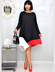 cheap -Women's Plus Size Dress Swing Dress Knee Length Dress Long Sleeve Solid Color Patchwork Casual Spring & Summer