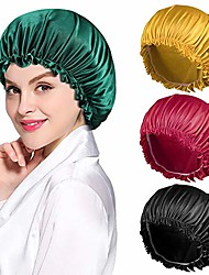 cheap -Multifunction Silky Printing Bonnet Satin Sleep Cap Wide Elastic Band for Women Curly Natural Long Hair 1 Pc