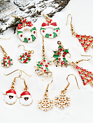 cheap -Women's Earrings Set 3D Santa Suits Christmas Tree Fashion Rhinestone Gold Plated Earrings Jewelry Rainbow For Christmas Party Evening Gift Festival 1 set