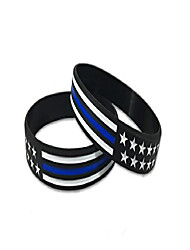 "cheap -thin blue line american flag bracelet (standard 8"", 2 pack)"