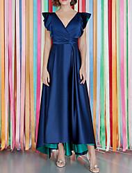 cheap -A-Line Minimalist Sexy Party Wear Formal Evening Dress V Neck Short Sleeve Floor Length Satin with Sash / Ribbon Ruffles 2021