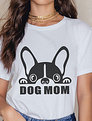 cheap -Women's Tee / T-shirt Cartoon Crew Neck Dog Letter Printed Sport Athleisure T Shirt Short Sleeves Breathable Soft Comfortable Plus Size Everyday Use Exercising General Use