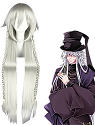 cheap -Black Butler Merlin Cosplay Wigs Unisex Braid 30 inch Heat Resistant Fiber Straight Silver Teen Adults' Anime Wig