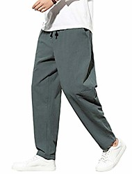 cheap -mens linen cotton relax fit elastic waist drawstring trousers beach yoga causal pants