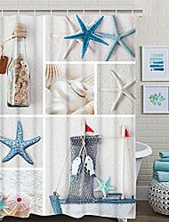 cheap -nautical shower curtain, marine sail boat beach starfish shell sea life shower curtain with 12 hooks, waterproof shower curtain