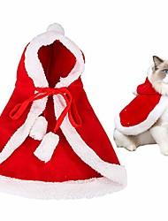 رخيصةأون -القط زي عيد الميلاد مع قبعة ملابس الحيوانات الأليفة ملابس وتتسابق سانتا عباءة الرأس للكلاب الصغيرة هريرة