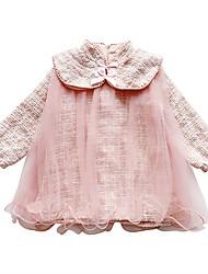 povoljno -Djeca Djevojčice Osnovni Jednobojni Mrežica Dugih rukava Iznad koljena Haljina Blushing Pink