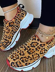 cheap -Women's Flats Fantasy Shoes Flat Heel Closed Toe Casual Daily Walking Shoes Cotton Rivet Solid Colored Leopard Leopard Black Red / Booties / Ankle Boots