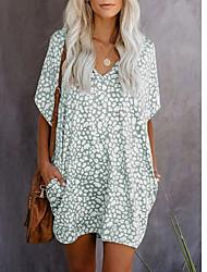 cheap -Women's Sheath Dress Knee Length Dress Short Sleeve Print Patchwork Print Summer Hot Boho 2021 Blue Light gray Light Green S M L XL XXL 3XL