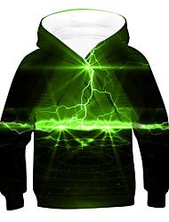 cheap -Kids Boys' Hoodie & Sweatshirt Long Sleeve 3D Green Children Tops Active Basic Children's Day