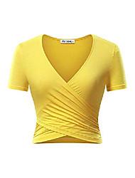povoljno -ženski duboki v vrat kratkih rukava unikatni križni omotač vitki fit kroj vrhova žuti
