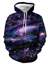 cheap -Men's Pullover Hoodie Sweatshirt Graphic Galaxy Star Print Hooded Daily Casual Hoodies Sweatshirts  Purple Red Blushing Pink