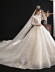 cheap -Ball Gown Wedding Dresses Jewel Neck Cathedral Train Tulle 3/4 Length Sleeve Formal Elegant Illusion Sleeve with Embroidery Appliques 2020