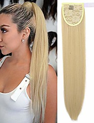 cheap -clip in ponytail extension wrap around pony tail straight hair hairpiece for kid 24 inch - creamy blonde