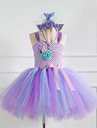 cheap -Kids Little Girls' Dress The Little Mermaid Floral Christmas Patchwork Purple Knee-length Sleeveless Flower Cute Dresses Halloween Regular Fit