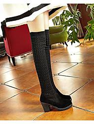 Недорогие -Жен. Ботинки Балетки Круглый носок На каждый день Классический Повседневные Однотонный Полиуретан Сапоги выше колена Для прогулок Черный / Коричневый