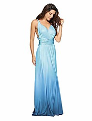 cheap -women& #39;s transformer casual gradient color deep v neck convertible wrap multi way dress sleeveless halter formal wedding party floor length cocktail gown long maxi dress gradient blue small