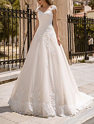 cheap -Ball Gown Wedding Dresses V Neck Sweep / Brush Train Lace Tulle Sleeveless Country with Appliques 2021