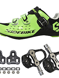 cheap -SIDEBIKE Adults' Cycling Shoes With Pedals & Cleats Road Bike Shoes Nylon Breathable Cushioning Cycling Black Red Green Men's Cycling Shoes / Breathable Mesh / Hook and Loop