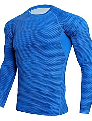cheap -Men's Compression Shirt Long Sleeve Compression Base Layer T Shirt Top Plus Size Lightweight Breathable Quick Dry Soft Sweat-wicking Black Red Sky Blue Spandex Winter Road Bike Fitness Mountain Bike