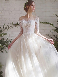 cheap -Ball Gown Wedding Dresses Off Shoulder Floor Length Lace Tulle 3/4 Length Sleeve Romantic Elegant with Lace Appliques 2020