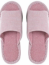 cheap -men and women& #39;s comfortable cotton flax indoor slipper open toe home slippers red