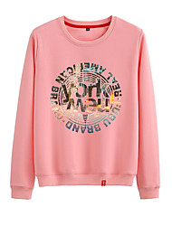 cheap -Women's Sweatshirt Pullover Black White Pink Artistic Style Crew Neck Cute Letter Printed Sport Athleisure Sweatshirt Top Long Sleeve Warm Soft Comfortable Everyday Use Causal Exercising General Use