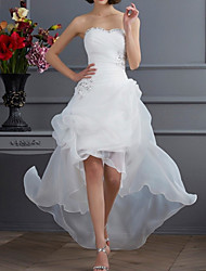 cheap -A-Line Wedding Dresses Strapless Asymmetrical Organza Sequined Sleeveless Vintage 1950s with Ruched Beading 2021