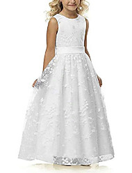cheap -Princess / A-Line Maxi Wedding / Event / Party / Holiday Flower Girl Dresses - Lace / Cotton Sleeveless Round Neck with Lace
